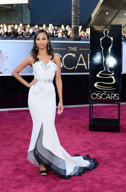 Oscars 2013 red carpet: Zoe Saldana in an Alexis Mabille Couture dress. I don't really dig the belt but she's always so beautiful and polished.