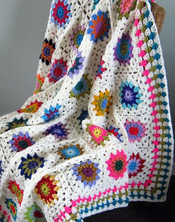 Sale 25% Off Crochet Afghan Blanket Granny Squares by Thesunroomuk