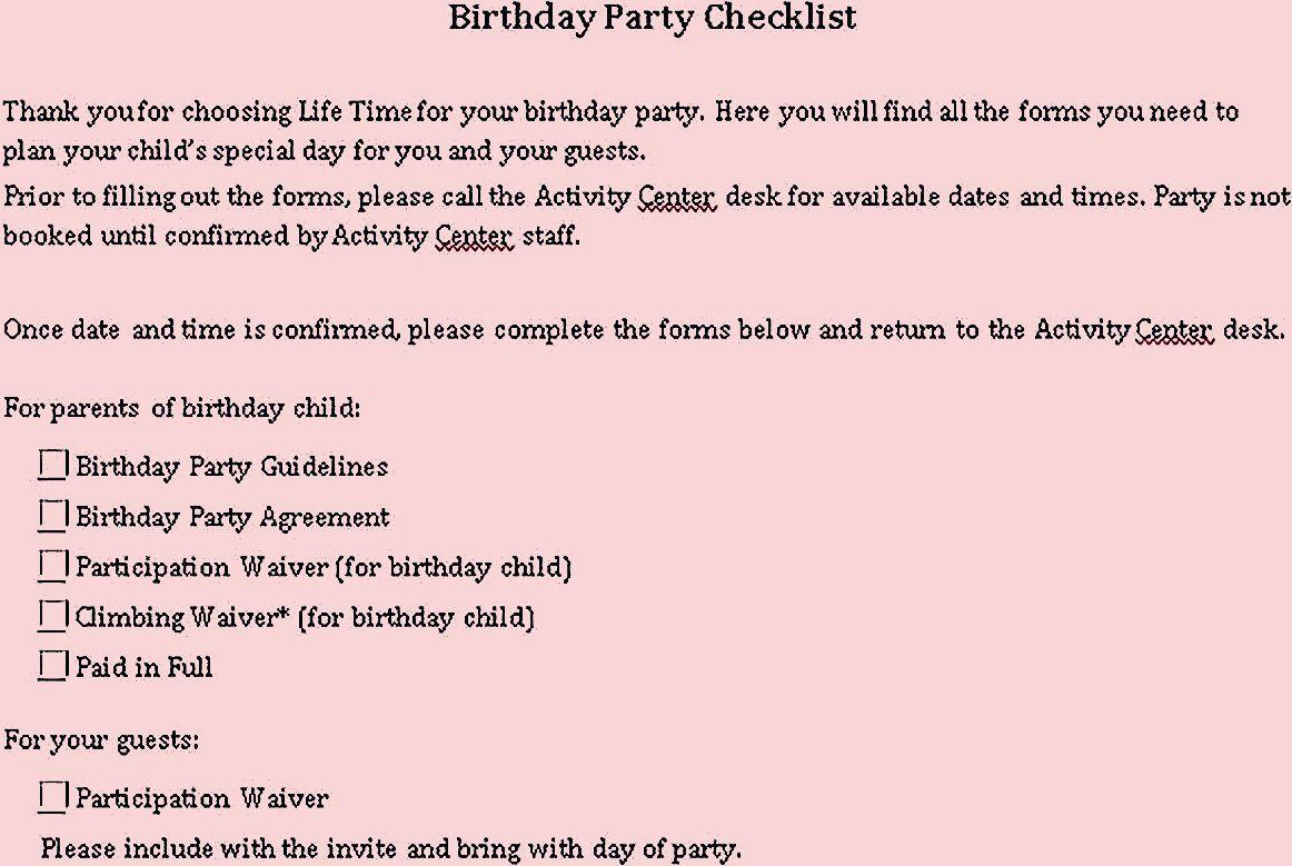 Photo of Sample Birthday Party Checklist Template – Party Checklist Template