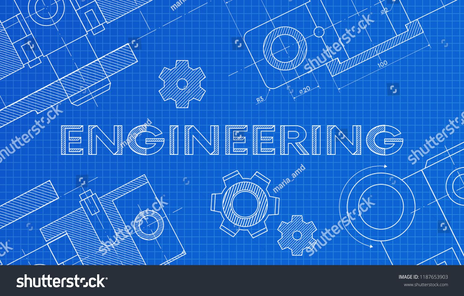 Mechanical Engineering Drawings Technical Drawing Abstract Technology Background Engineering Science Mathematics Education Engineering Science Engineering