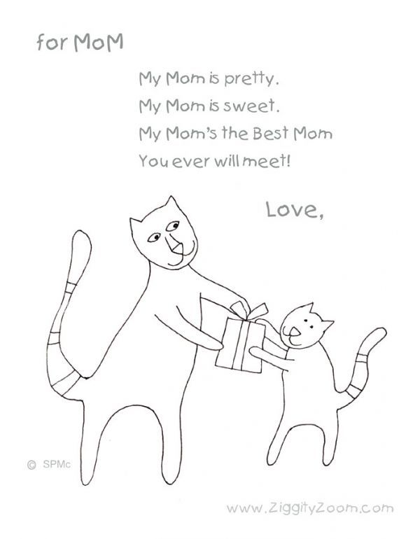 Coloring Page With Mothers Day Poem Mothers Day Poems Preschool