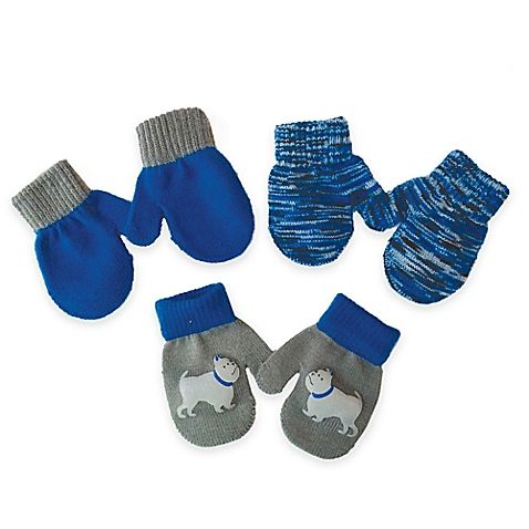 Keep tiny hands warm and looking stylish with Toby N.Y.C. Infant Mittens. This pack of 3 mitten pairs features a blue theme along with a dog graphic pair. Soft and cozy, they're a perfect winter accessory for your little one.