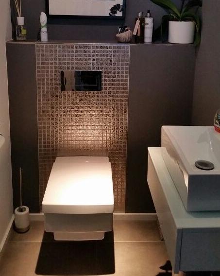 Inodoro en cuarto de baño pequeño con pared de la cisterna ...