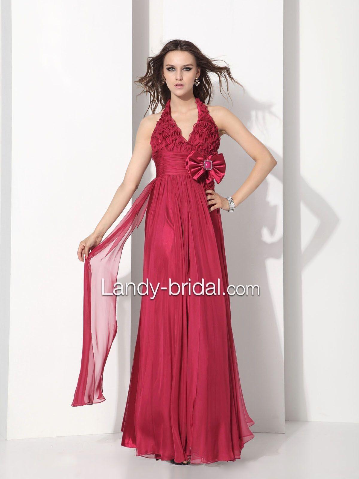 Neckholder Column Bodenlang Rot Chiffon Abendkleid F12018 $199.99 Abendkleider