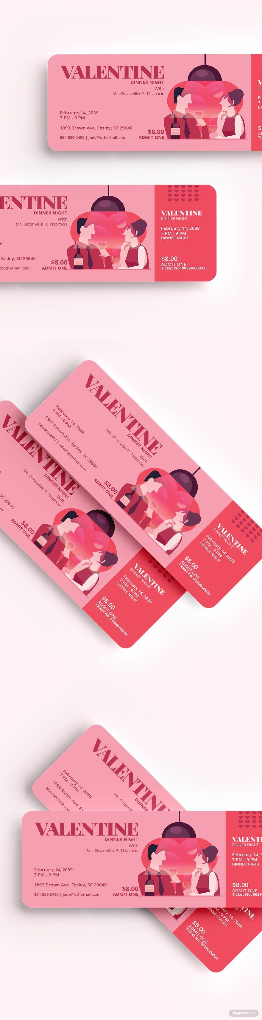 Valentine Dinner Ticket Template Word Doc Psd Apple Mac Pages Illustrator Publisher Valentine Dinner Ticket Template Ticket Design