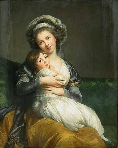 """Autorretrato en un turbante con Julie"". Óleo. Louise Elisabeth Vigée Le Brun (1755-1842, France)."