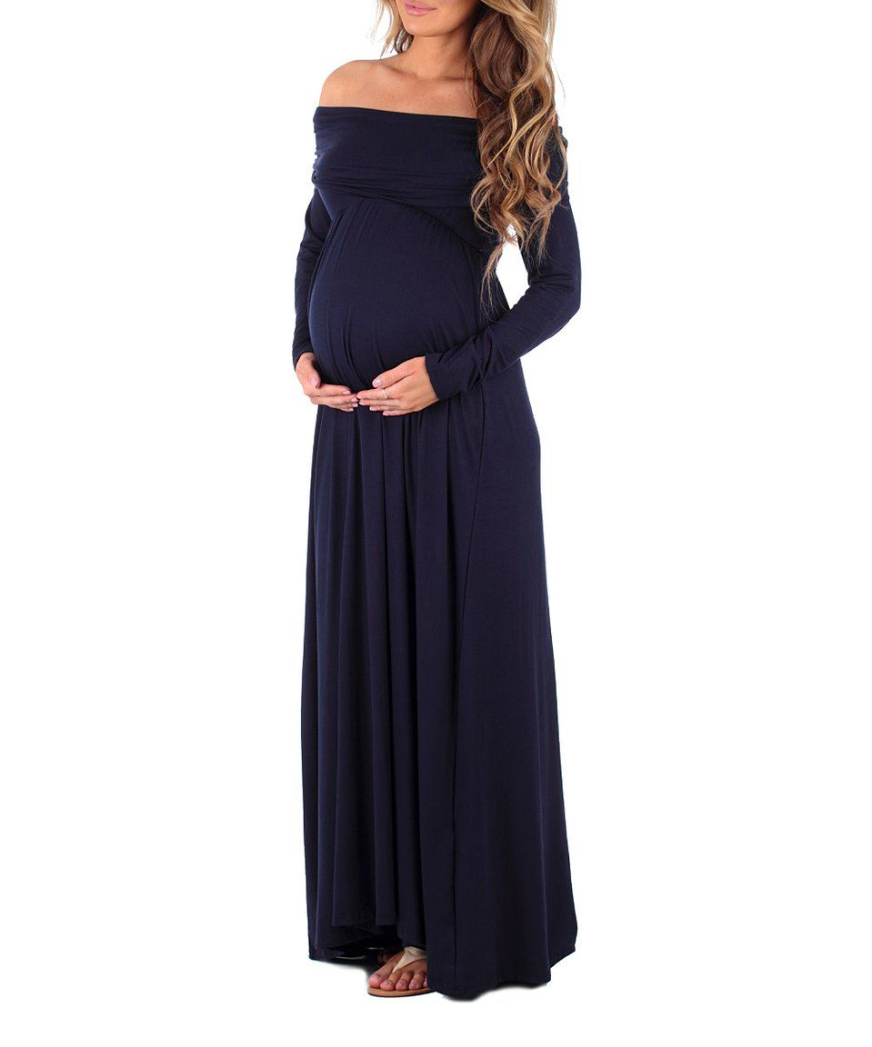 3ce3c6bc0428c This Mother Bee Maternity | Mother Bee Navy Off-Shoulder Maternity Maxi  Dress by Mother Bee Maternity is perfect! #zulilyfinds