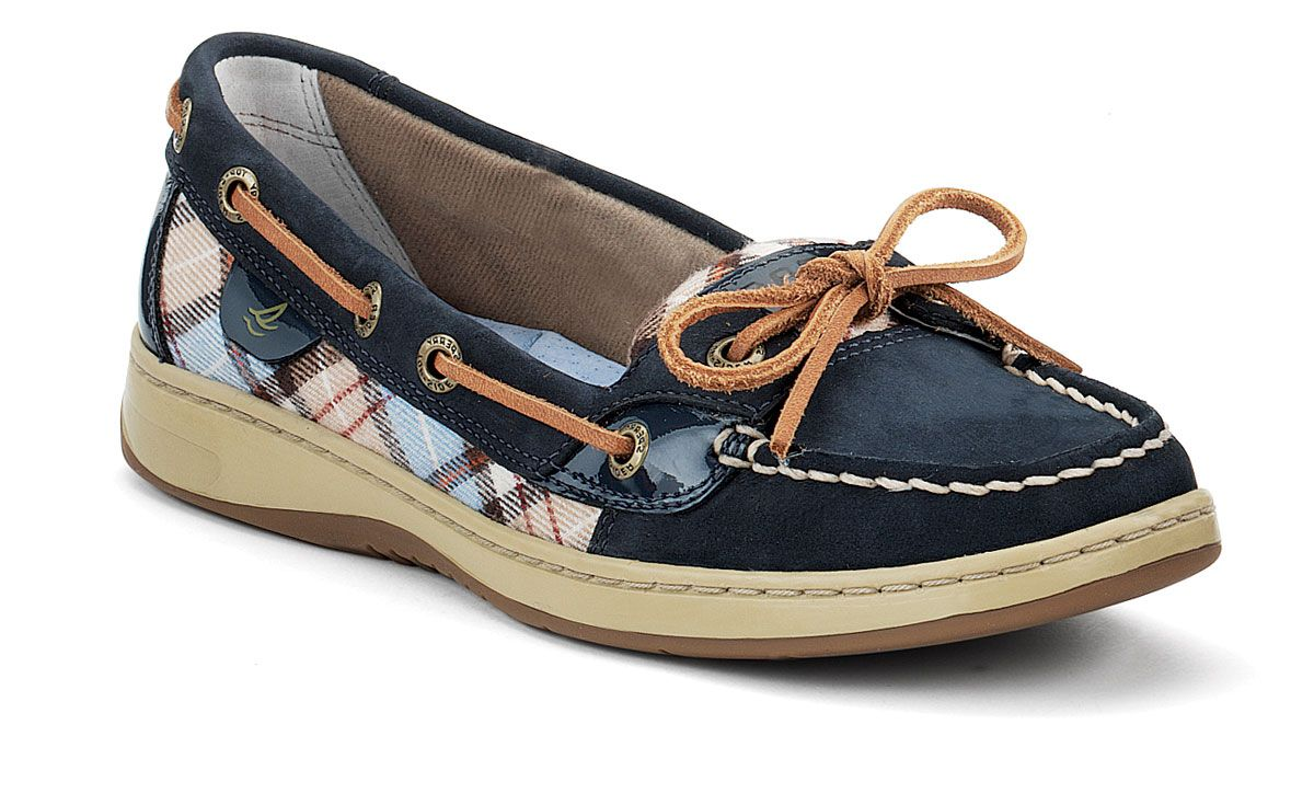 Sperry - Women& Angelfish Slip-On Boat Shoe - Navy Nubuck/Blue Plaid -