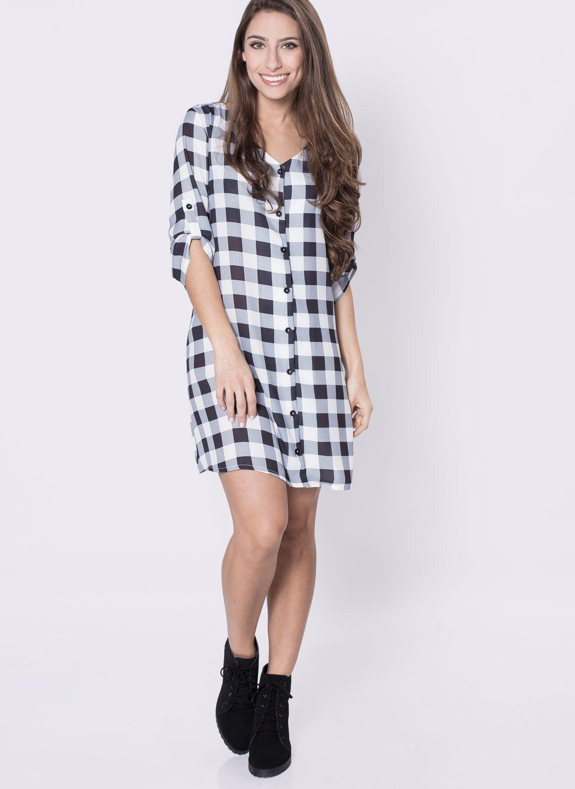 5d3f206a44dd Vestido Chemise Xadrez | P/ MAINHA - COSTURA | Vestido chemise ...