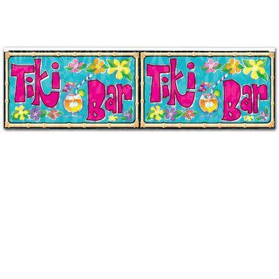 The Beistle Company FR Metallic Tiki Bar Fringe Banner Wall Décor