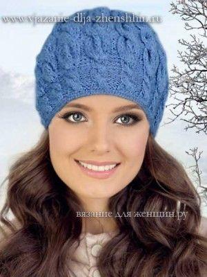 вязание спицами зимней шапочки для женщин плетем дрехивязаная