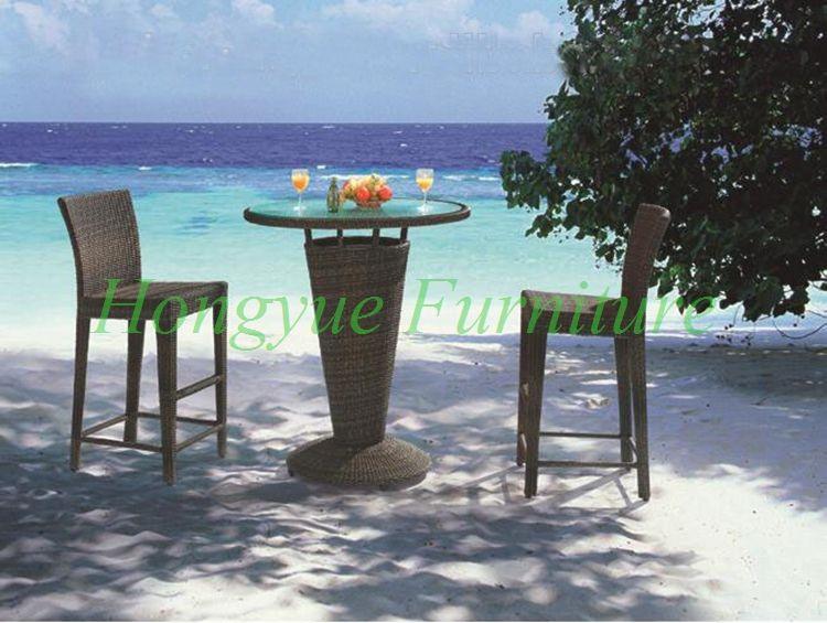 Patio brown rattan bar table chair set furniture designs sale ...