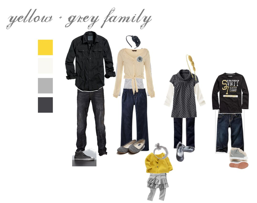 Fall family photo colors.  I LOVE the yellow and grey!!!
