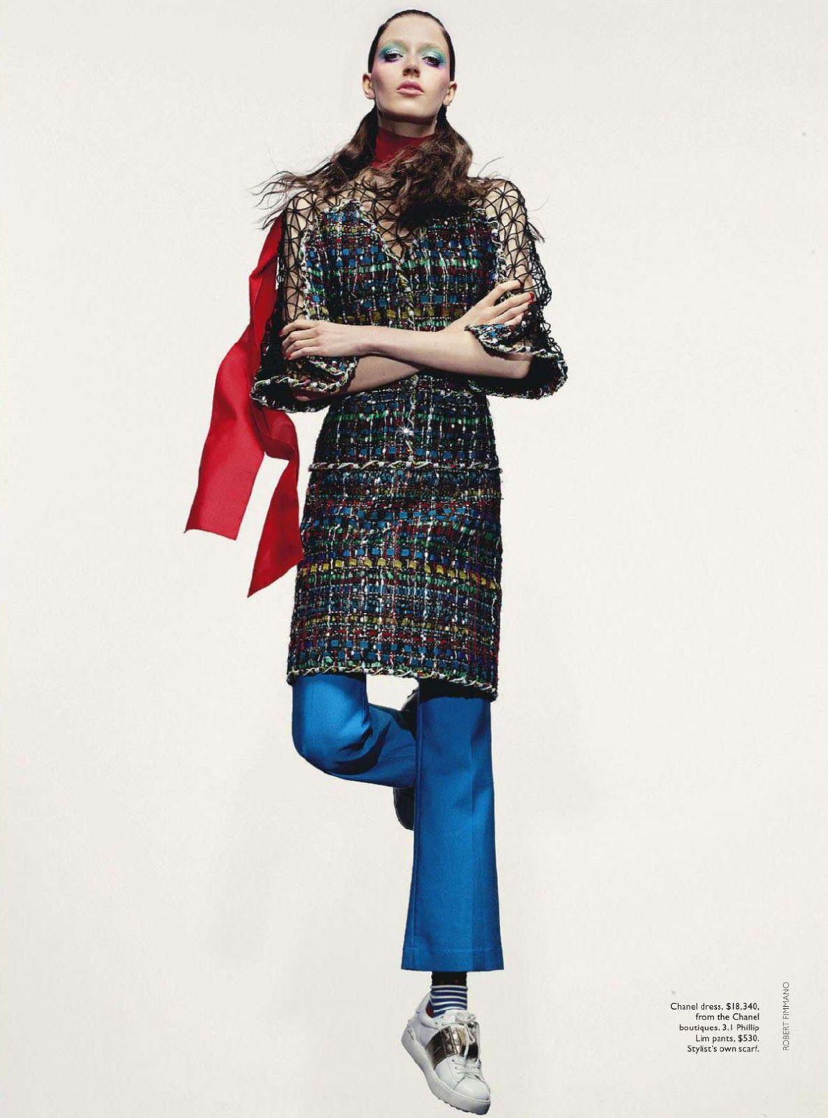 Vogue Austrália Janeiro 2015 | Josephine Van Delden por Robbie Fimmano [Editorial] in chanel cruise 2015 (Dubai) dress