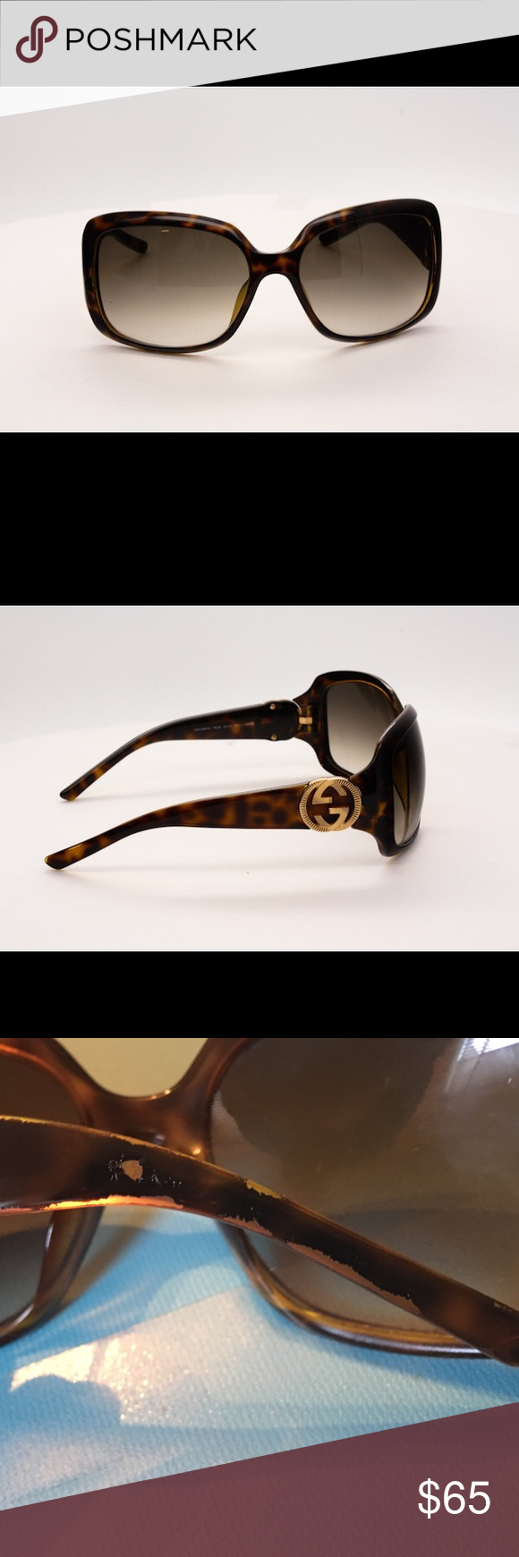 Gucci sunglasses with accessories. Gucci sunglasses.                                                  Tortoise Shell Frame Gradient Tint GG Logo Sunglasses-3164/S Gucci Accessories Sunglasses
