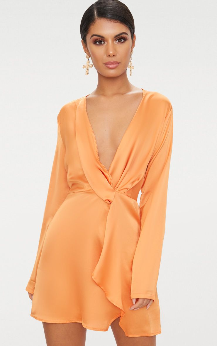 Tangerine satin long sleeve wrap dress in c l o t h e s