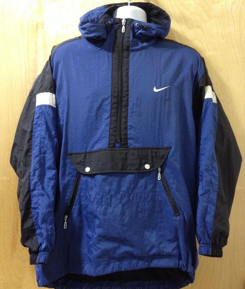 8646dc83daba Women s Nike Windbreaker Hooded Pullover Size L ( 12 - 14 ) Half Zip Blue  Black  Nike  Windbreaker