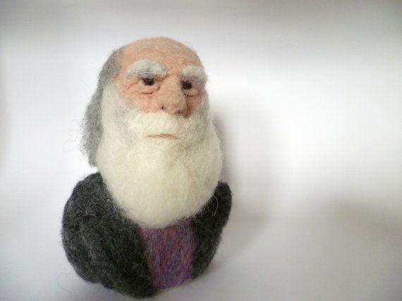 needle-felted Darwin bust