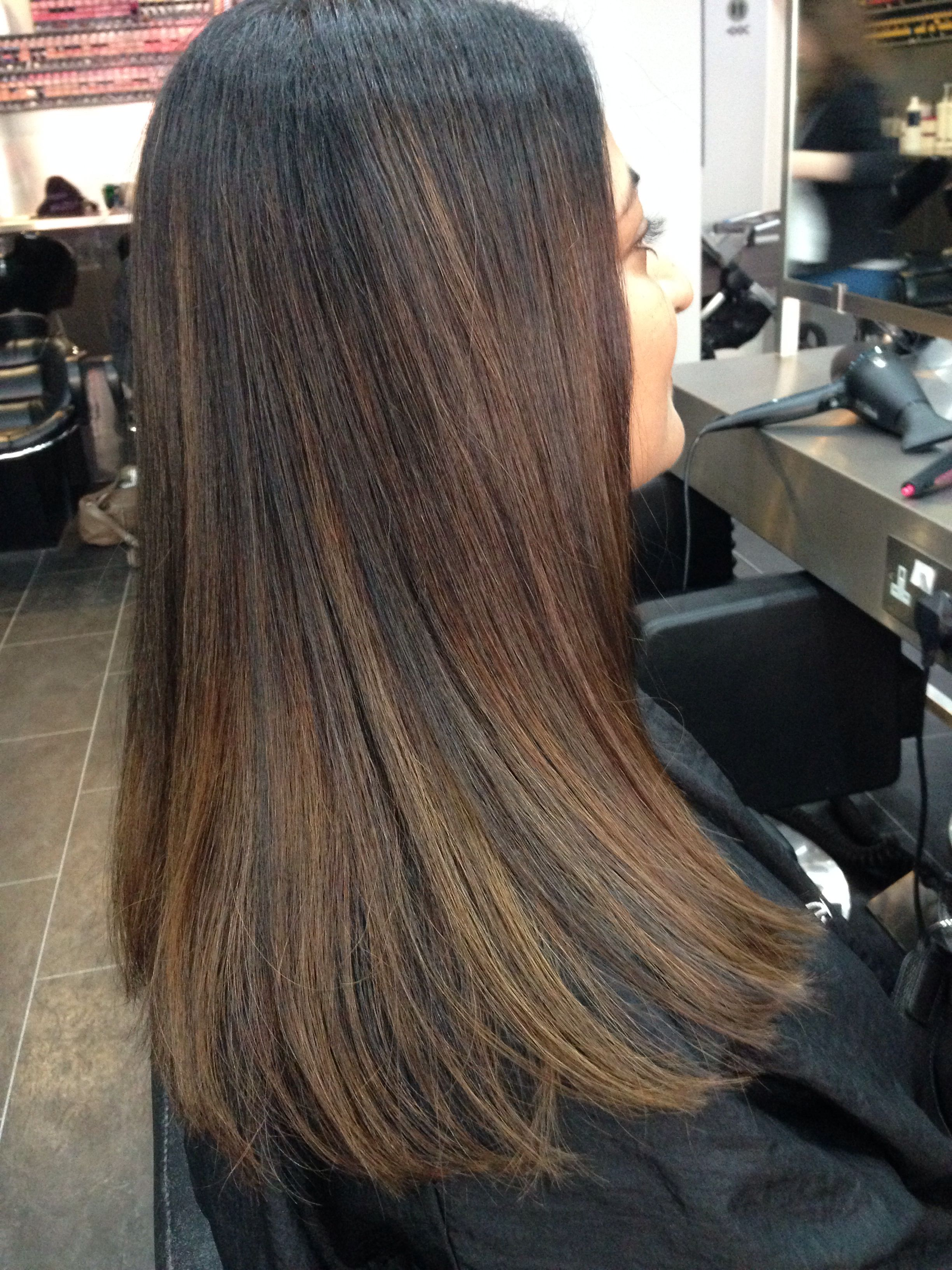 Natural Balayage On Indian Hair Indian Hair Color Indian Hair Highlights Black Hair Balayage