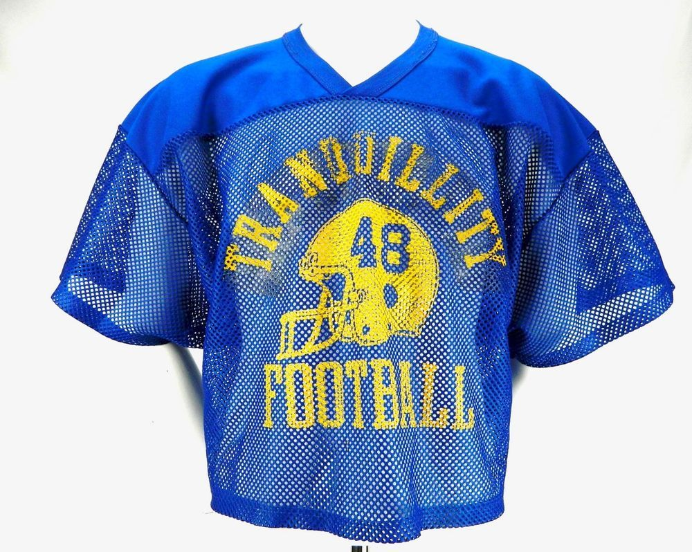 10f02279c Vintage Russell Athletics Cut Off Mesh Jersey Tranquility Football Blue 80s  L-XL  RussellAthletic  GraphicTee  Casual
