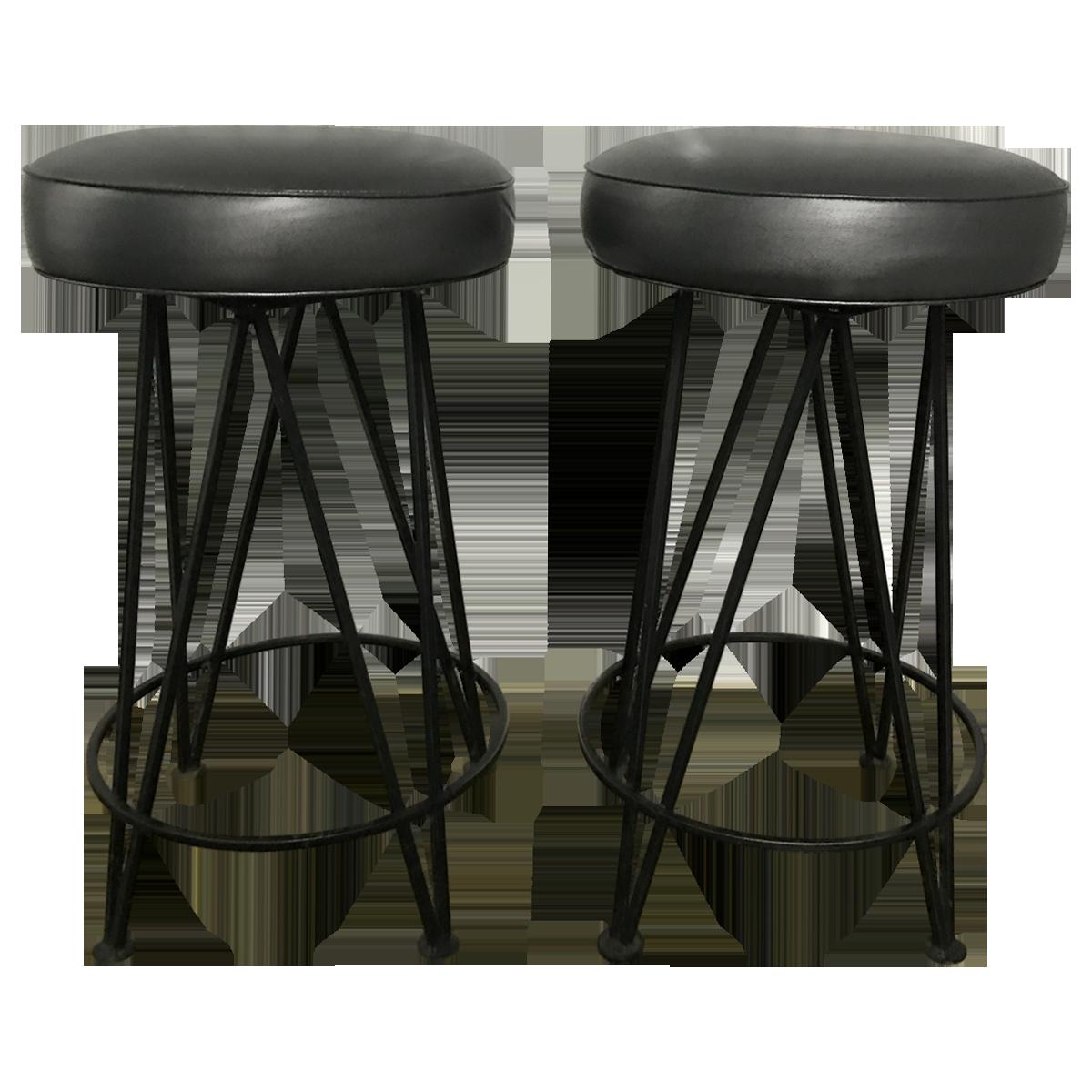 Vintage 1950s Round Black Wrought Iron Hairpin Leg Bar Stools Bar Stools Stool Quartz Or Granite Black wrought iron bar stools