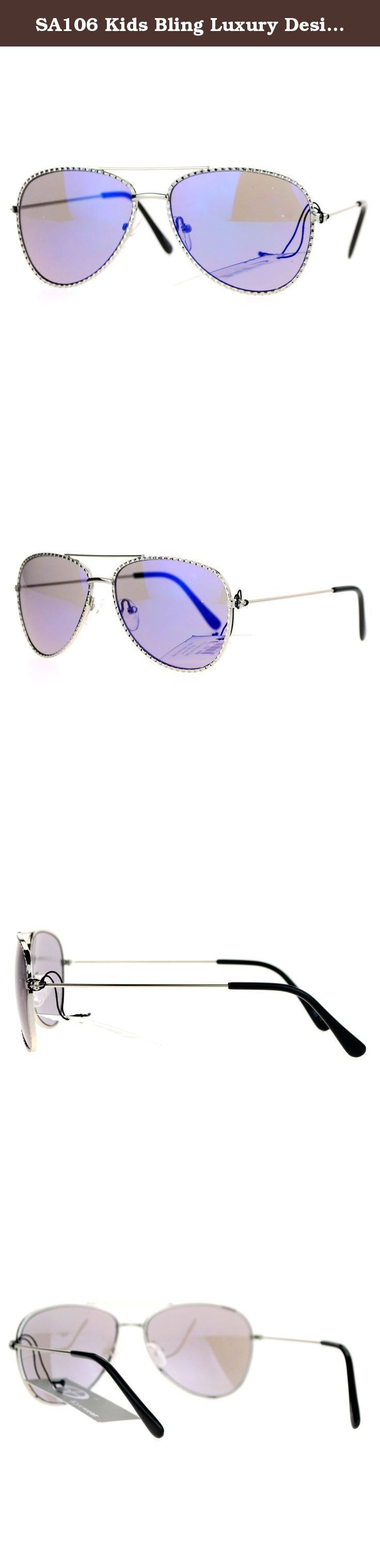 595b8f7c4ca SA106 Kids Bling Luxury Designer Fashion Metal Aviator Sunglasses Silver  Blue. SA106 small kid size flashy bling metal rim tear drop shape classic  aviator ...
