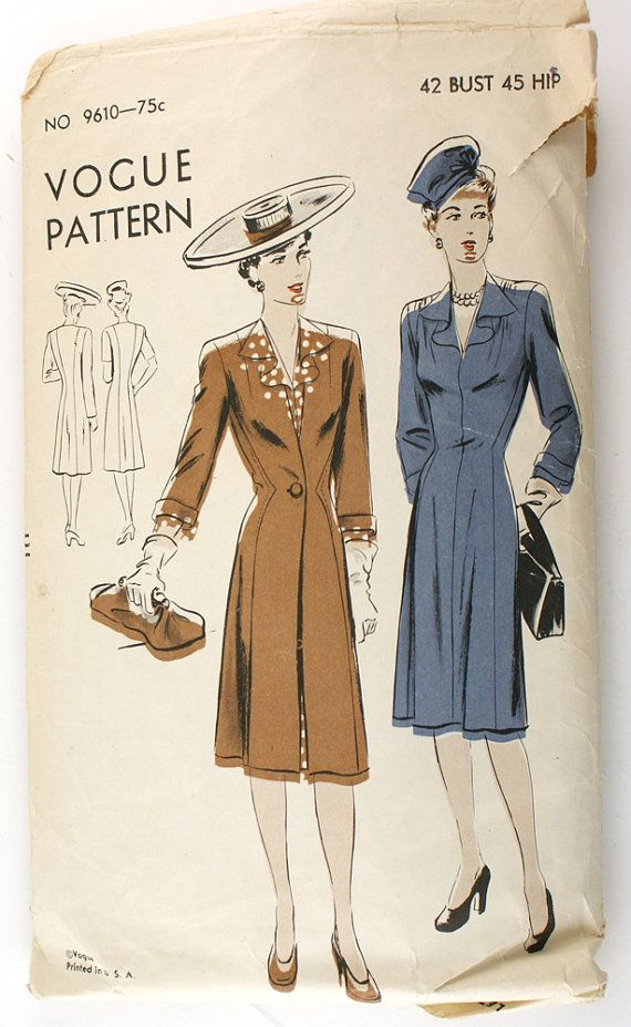 Vogue 9610 Vintage 1940s Dress and Redingote by VtgSewingPatterns, $15.00