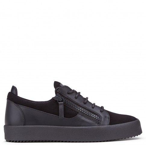 Giuseppe Zanotti Black and white fabric low-top sneaker FRANKIE uhOLnl0C0w