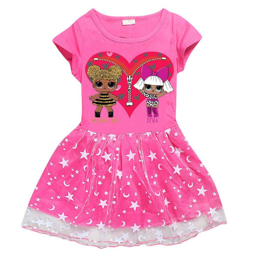 752a51d751b  7.99 - Girls Kids L.O.L Lol Surprise Doll Short Sleeve Dress Casual Summer  Party Dress  ebay  Fashion