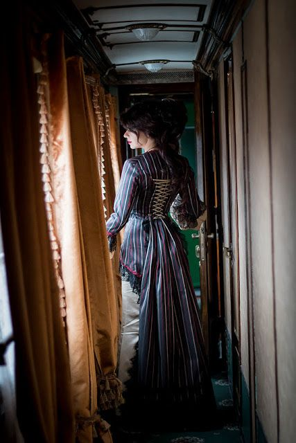 Striped Victorian Jacket and Skirt (this costume is for sale here: http://tidd.ly/2723f446) - For costume tutorials, clothing guide, fashion inspiration photo gallery, calendar of Steampunk events, & more, visit SteampunkFashionGuide.com