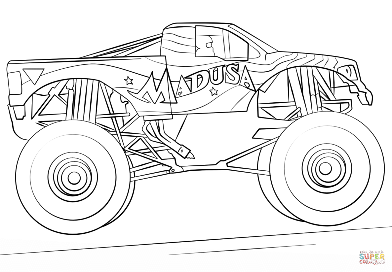 Madusa Monster Truck Super Coloring Monster Truck Coloring Pages Truck Coloring Pages Monster Trucks