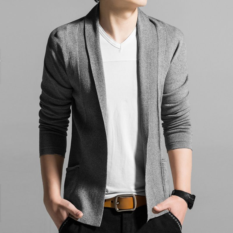 Korean Style Black Grey Blue Mens Spring Autumn Knitwear Cardigan ...