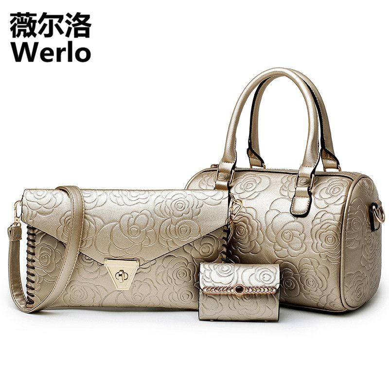 243add2f555c WERLO Brand New 3 Pcs  Set Women Handbags PU Leather Women Bags Totes Bag  Ladies Designs Bags Handbag+Messenger Bag+Purse SJ179