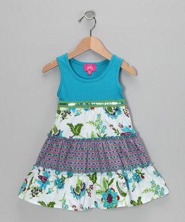 Take a look at this Turquoise Floral Tiered Dress - Toddler & Girls by Zunie & Pinky on #zulily today!