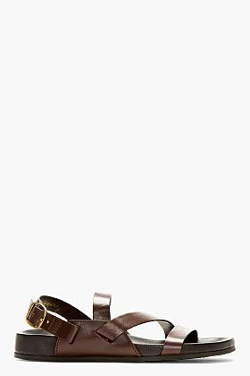 404dc540ec38 Jimmy Choo Brown Leather Hayman Gladiator Sandals