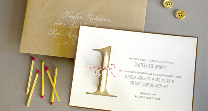 Los Angeles Wedding Invitations: First Birthday Party Invite, And Calligraphy Address