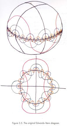edwards-venn diagrams on spheres and projected on plane
