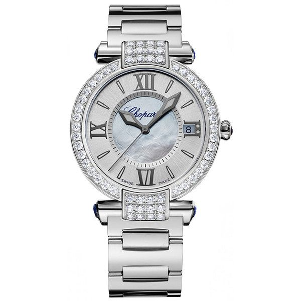 Chopard Imperiale Automatic 36mm 384822-1004 Watch ($32,700) ❤ liked on Polyvore featuring jewelry, watches, chopard watch, blue watches, chopard jewellery, polish jewelry, chopard watches and chopard jewelry