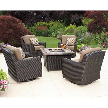 Kingsley Fire Pit Chat Set Includes 4 Swivel Chairs 1 Firepit Table Decorative Pillows Furniture Cover Aluminum Frames All Weather Resin Wicker
