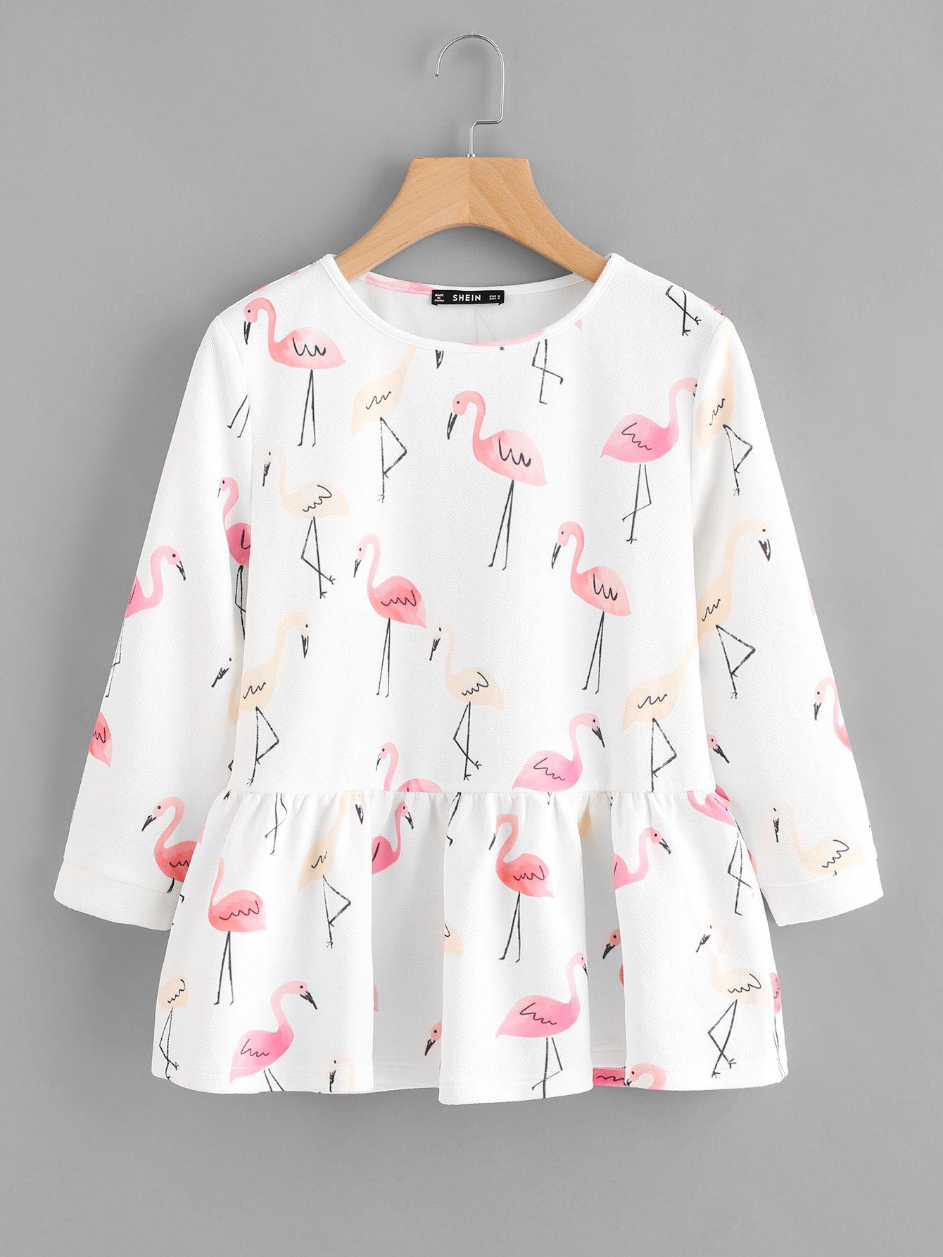 3ed14bb4c3 Shop Allover Flamingo Print Smock Top EmmaCloth-Women Fast Fashion Online