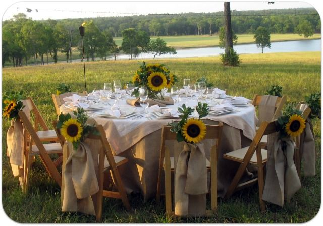 Burlap table setting with sunflowers