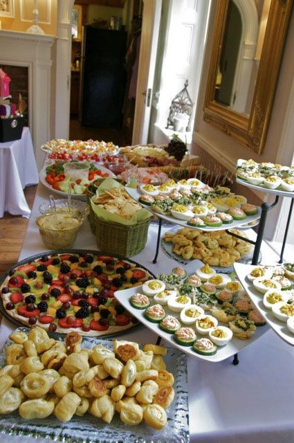 yummy bridal shower buffet at the sage farmhouse