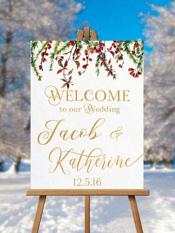 Christmas Wedding Welcome Sign PRINTABLE Winter Hashtag