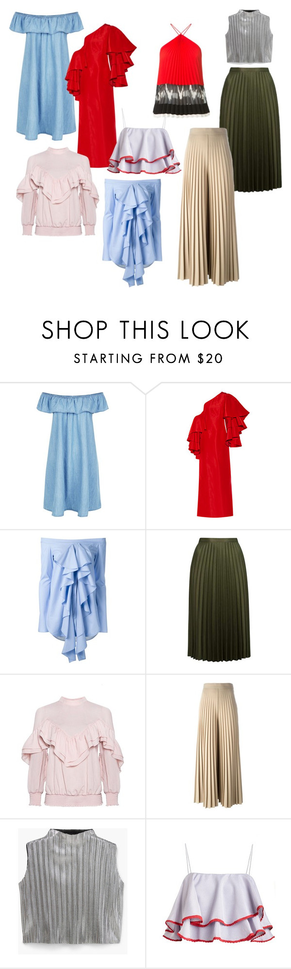 """Ruffles & Pleats"" by thedailyuniform on Polyvore featuring New Look, Rosie Assoulin, E L L E R Y, Topshop, Givenchy, MANGO and Altuzarra"