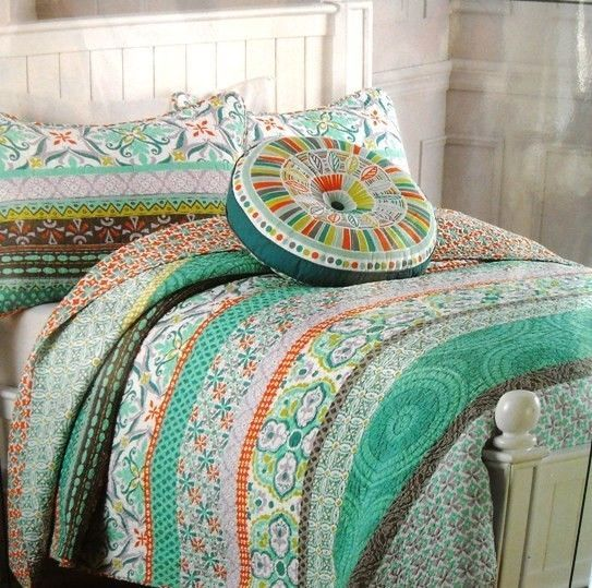 Cynthia Rowley Queen Full Quilt Set 3 Pc White Teal Orange New W Sham Quilt Sets Quilts Cotton Quilts