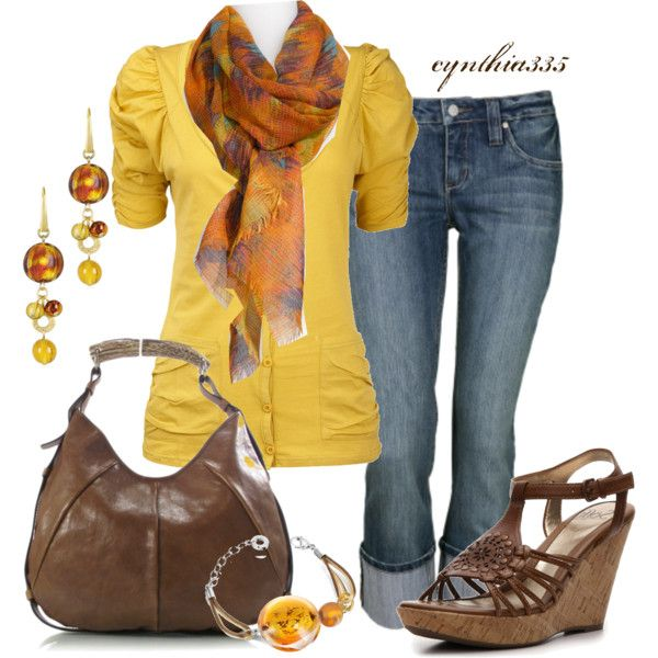 Cynthia 335 is one talented fashionista on Polyvore:) This classic look is rich with fall hues, yet perfect for those sultry, summer days still.
