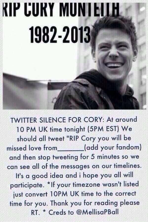 I Am Completely Heartbroken I Woke Up Today To Find That One Of My Idols Passed Away My Prayers Go Out To His Family And To Lea P Remeber Cory Glee My