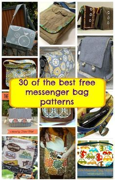 Just the best free messenger bag patterns,  for kids and grown ups. Good to see some for men too.