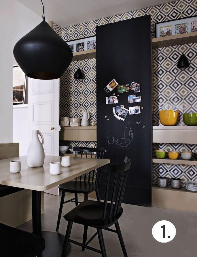Mur Graphique Noir Et Blanc En Cuisine En Cuisine Regard Et Mur - Carrelage mural ardoise cuisine pour idees de deco de cuisine