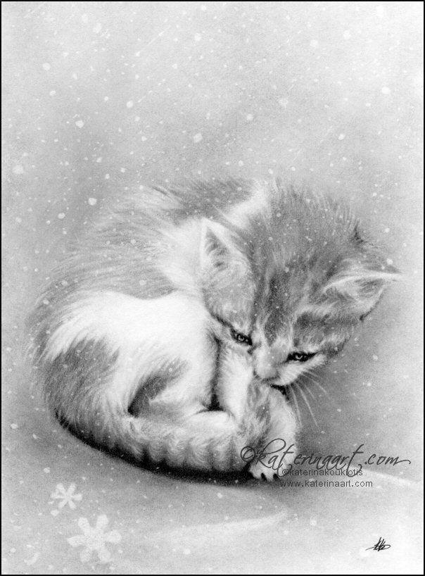 Bleak Wintry Kitty , Katerina Art ,Fantasy and Portraiture art by Katerina Art,The beautiful pencil art by Katerina Koukiotis